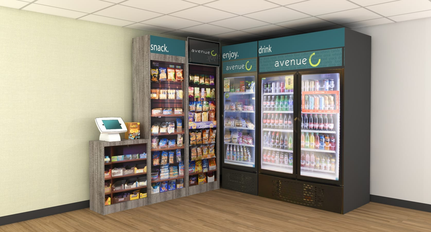 Avenue C brand fully stocked beverage cooler beside a chip rack and a self service touch screen checkout device